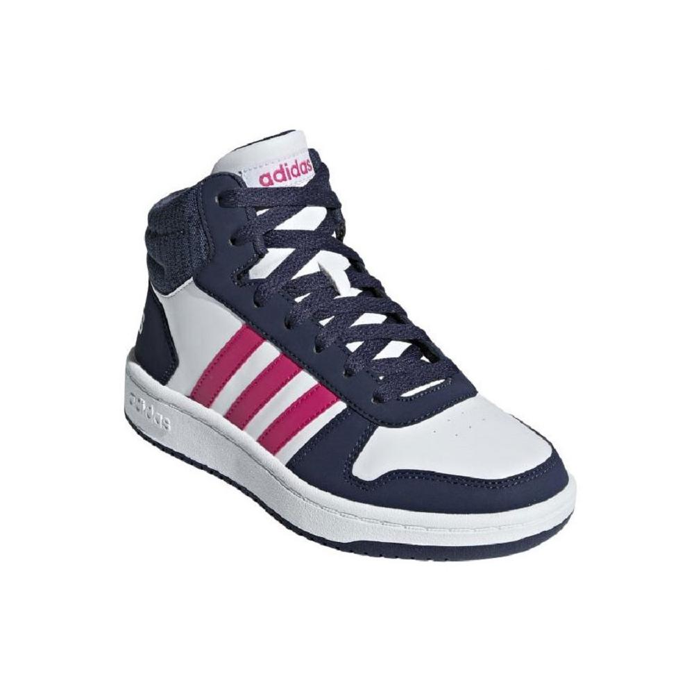 size 40 6a677 69ddc ... ADIDAS NEO HOOPS ALTE BIANCO BLU JEANS FUXIA BAMBINI ...
